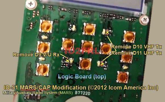 Espansione RX e TX Icom ID-51 (MARS Mod)
