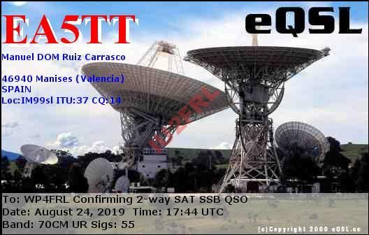 DX via satellite AO-7 WP4FRL-EA5TT