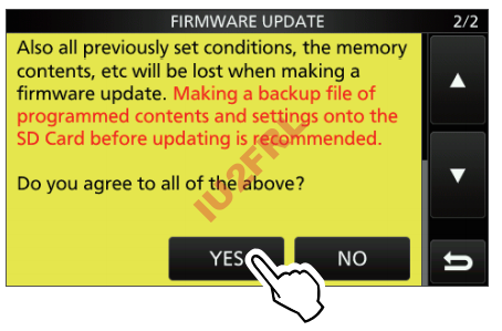 Aggiornamento firmware per IC-9700