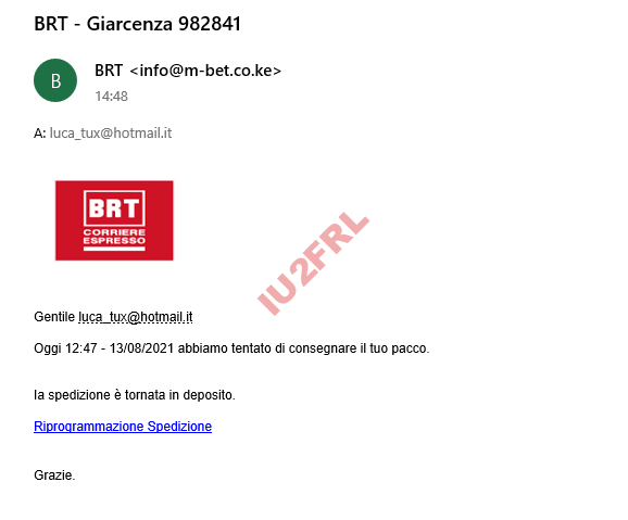 Phishing di un falso BRT