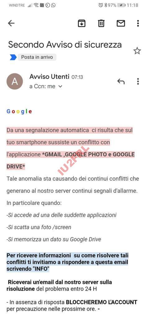Google: secondo avviso di sicurezza